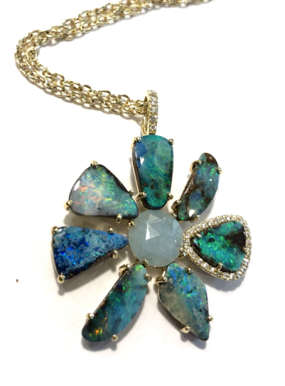 BOULDER OPAL AND AQUAMARINE FLOWER NECKLACE