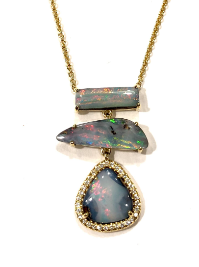 TRIPLE BOULDER OPAL PENDANT NECKLACE WITH WHITE DIAMONDS