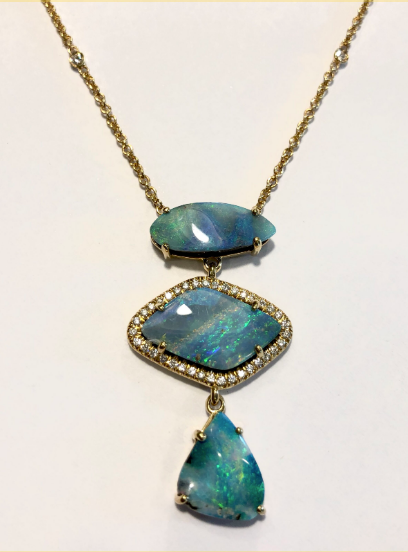 BLUE HUED BOULDER OPAL NECKLACE