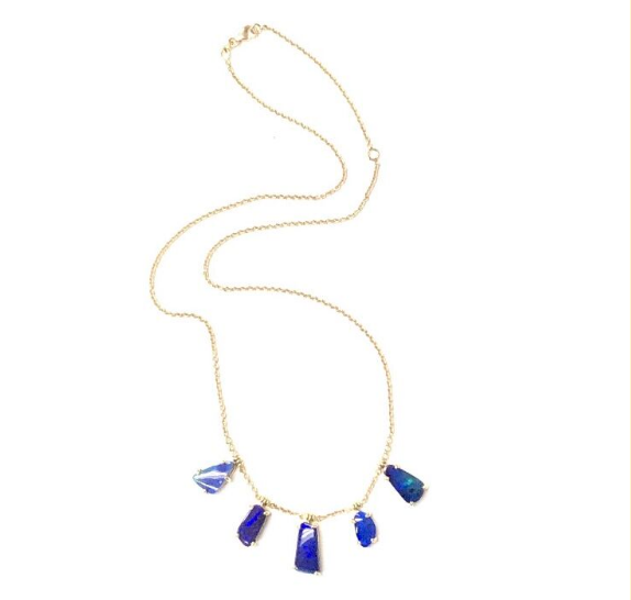 BLUE BOULDER OPAL FRINGE NECKLACE