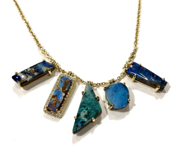 MIXED SHAPE BOULDER OPAL FRINGE NECKLACE