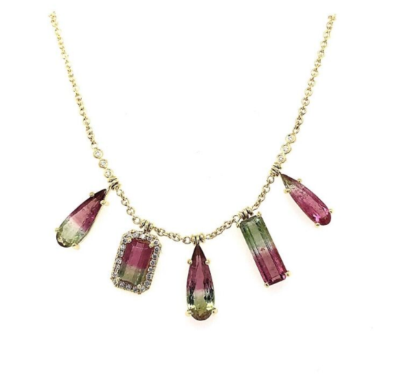 FIVE STONE WATERMELON TOURMALINE FRINGE NECKLACE
