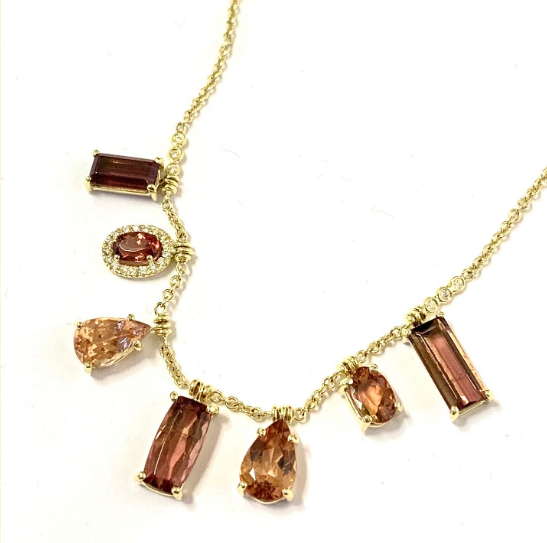 AUTUMNAL TONE TOURMALINE FRINGE NECKLACE