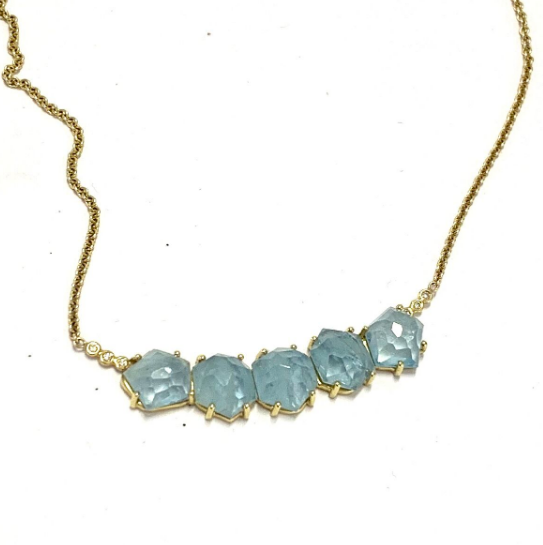FACETED FIVE STONE AQUAMARINE NECKLACE