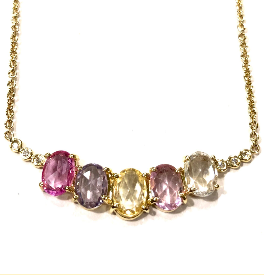ROSE CUT MULTI-COLOR OVAL SHAPED SAPPHIRE NECKLACE