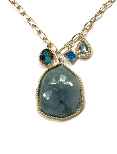 AQUAMARINE PENDANT NECKLACE WITH BOULDAR OPALS, APATITE AND DIAMONDS
