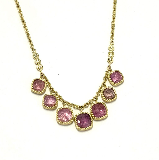ROSE CUT SEVEN STONE PINK SAPPHIRE NECKLACE