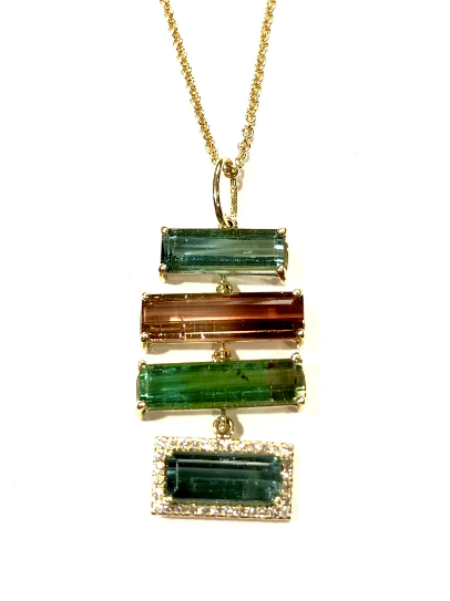 MULTI-COLORED RECTANGULAR TOURMALINE NECKALCE