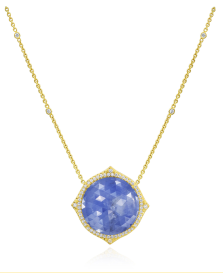 ROSE CUT PERIWINKLE SAPPHIRE NECKLACE