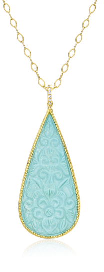HANDCARVED TURQUOISE PENDANT NECKLACE