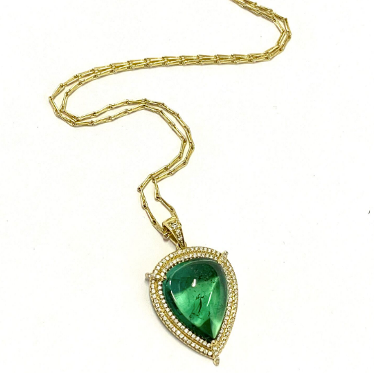 CABOCHON CUT GREEN TOURMALINE NECKLACE
