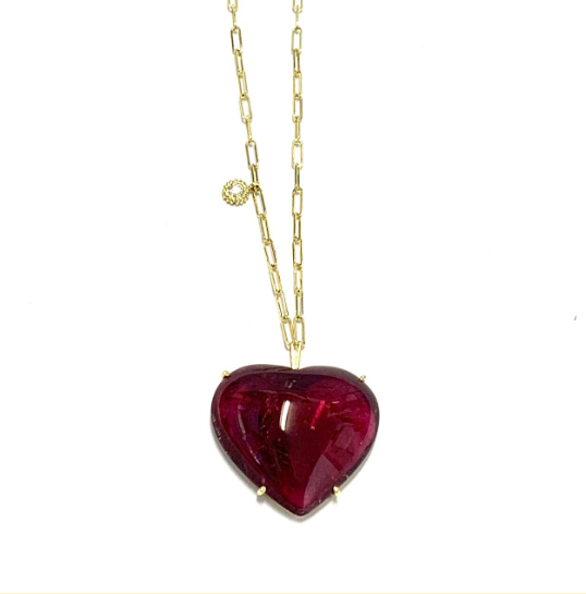 CABOCHON HEART SHAPED TOURMALINE NECKLACE