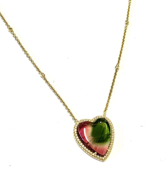 CABOCHON HEART SHAPED WATERMELON TOURMALINE NECKLACE