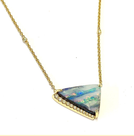 TRIANGULAR SHAPED BOULDER OPAL NECKLACE