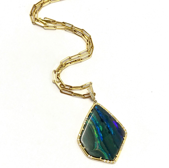 BLACK OPAL PENDANT ON GOLD PAPERCLIP CHAIN