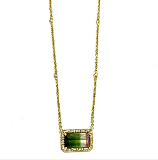 TRICOLOR WATERMELON TOURMALINE PENDANT NECKLACE
