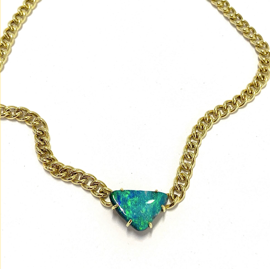 TRIANGULAR BOULDER OPAL PENDANT ON HEAVY GOLD CHAIN