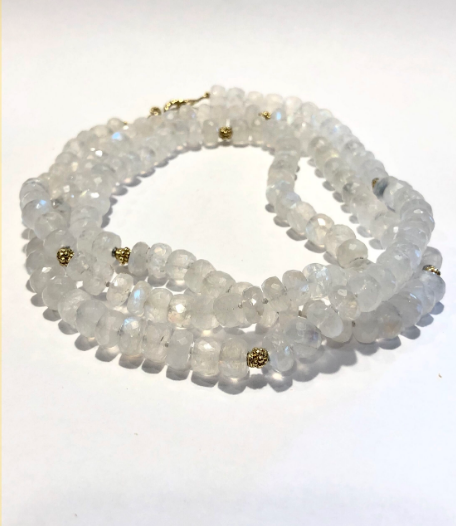 FACETED MOONSTONE BEAD NECKLACE