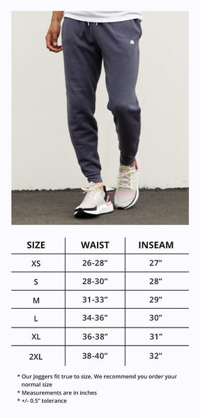 INTO THE AM Men's Joggers S-XXL Size Chart