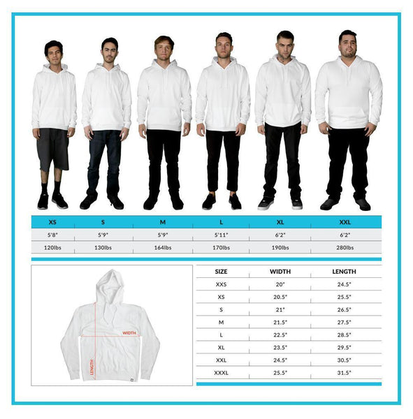 Men's Hoodie Size Chart V1