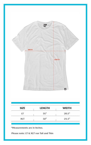INTO THE AM Men's Original Slim Fit Tee Size Chart