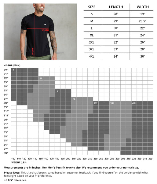 INTO THE AM Men's AOP Tees Size Chart