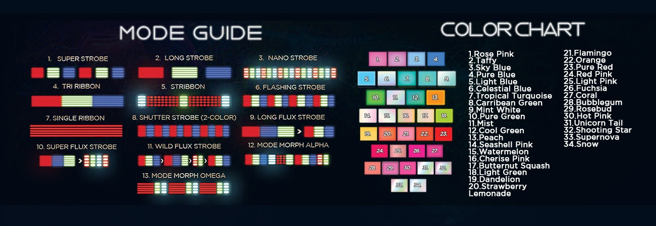 GloFX Space Whip Pro Mode and Color Chart