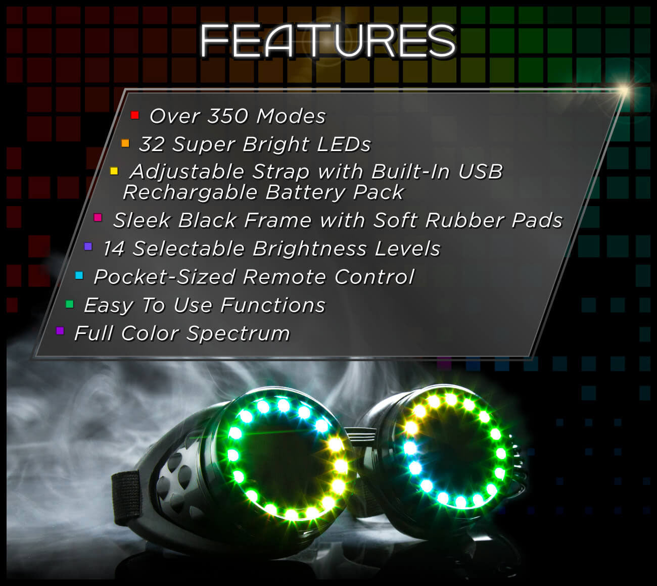 GloFX Pixel Pro LED Goggles Features