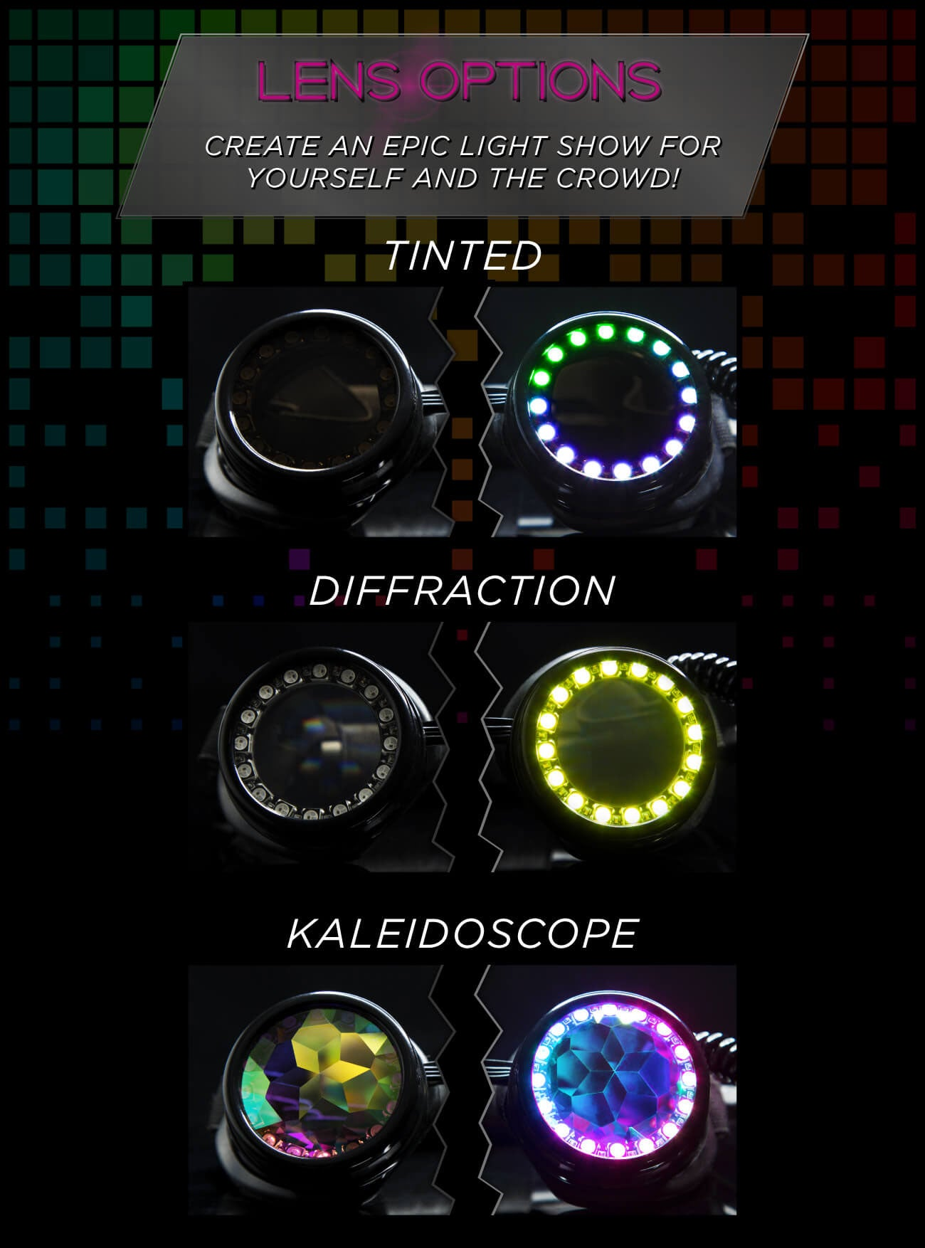GloFX Pixel Pro LED Goggles Lens Options