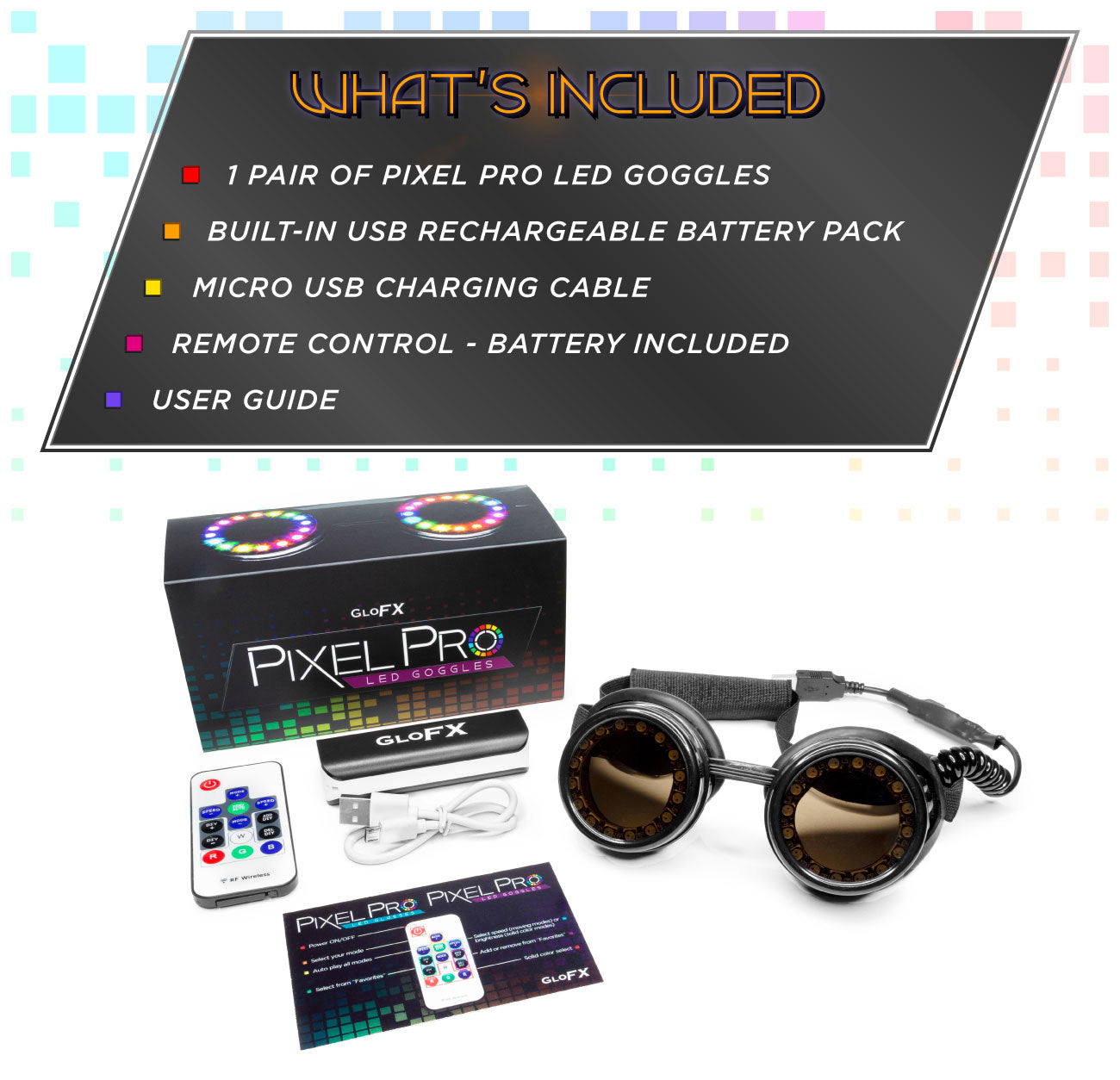 GloFX Pixel Pro LED Goggles What`s Included
