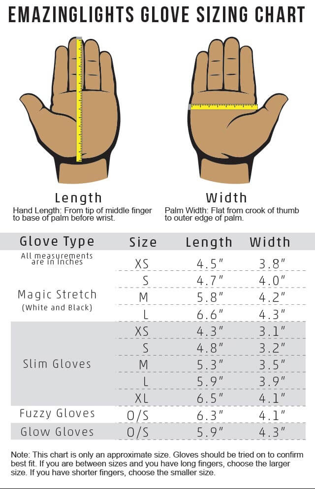 EmazingLights Slim Gloves Size Chart