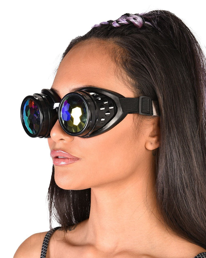 Crystal Kaleidoscope Goggles-Black-Lifestyle