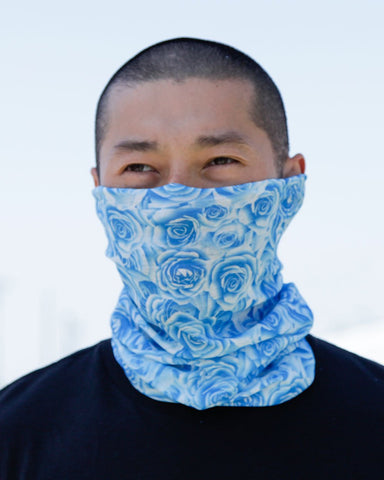 Field Of Roses Seamless Mask Bandana - Blue-Lifestyle