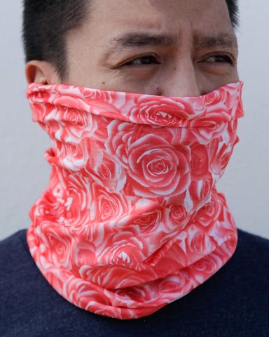 Field Of Roses Seamless Mask Bandana - Pink-Lifestyle