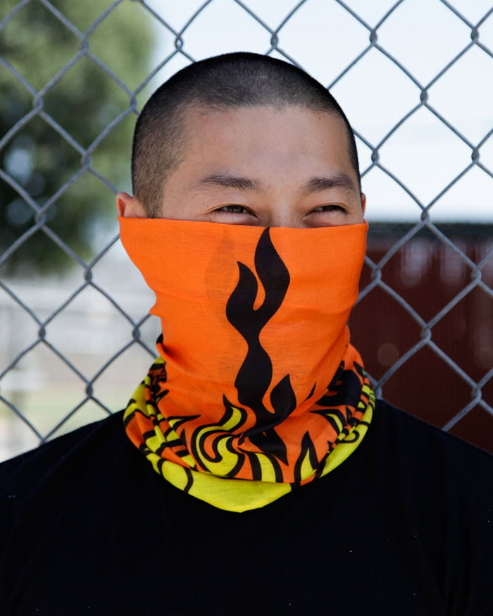 Orange Flame Seamless Mask Bandana-Lifestyle