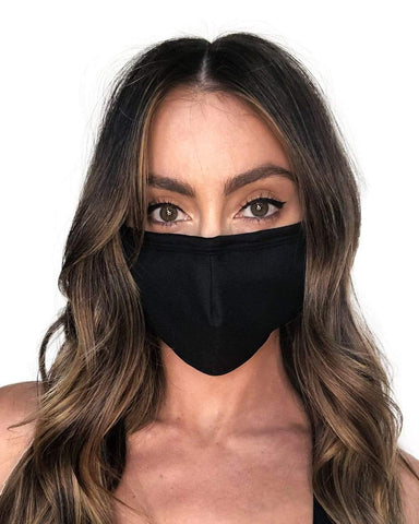 Solid Color Face Mask-Black-Front