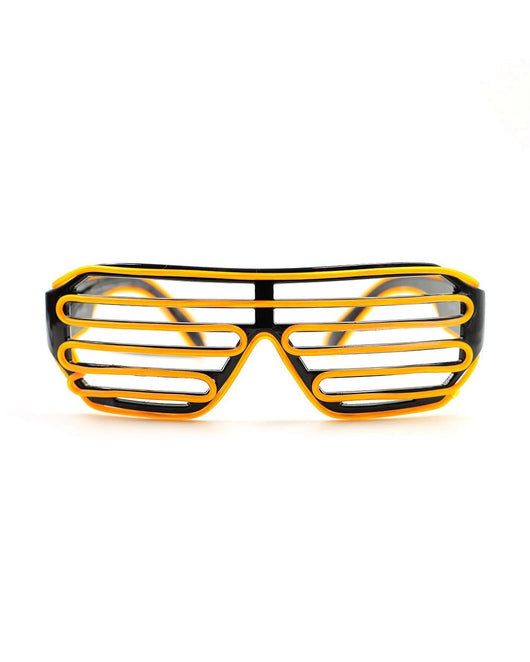 Black LED Shutter Glasses Front View - Yellow