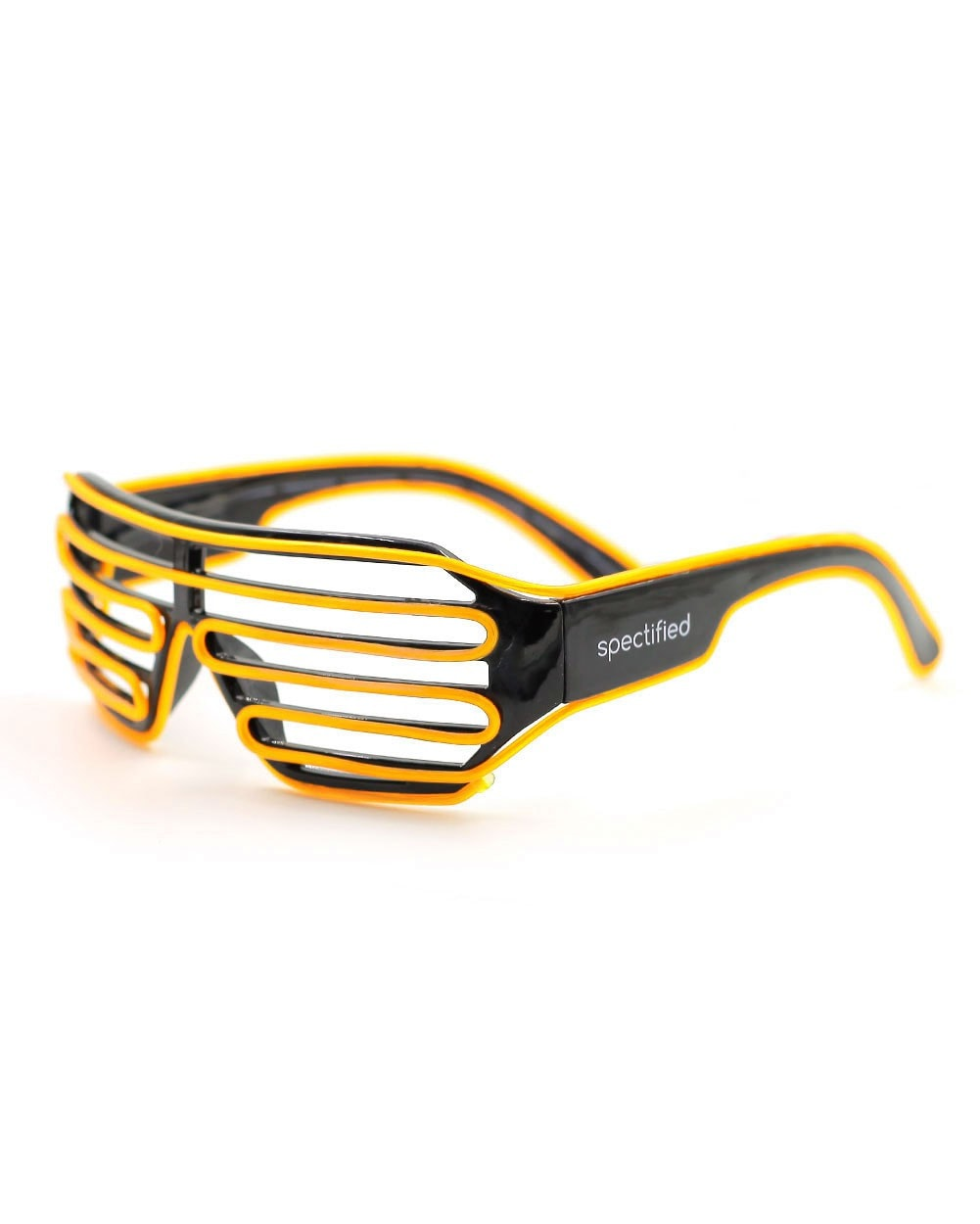 Black LED Shutter Glasses - Yellow