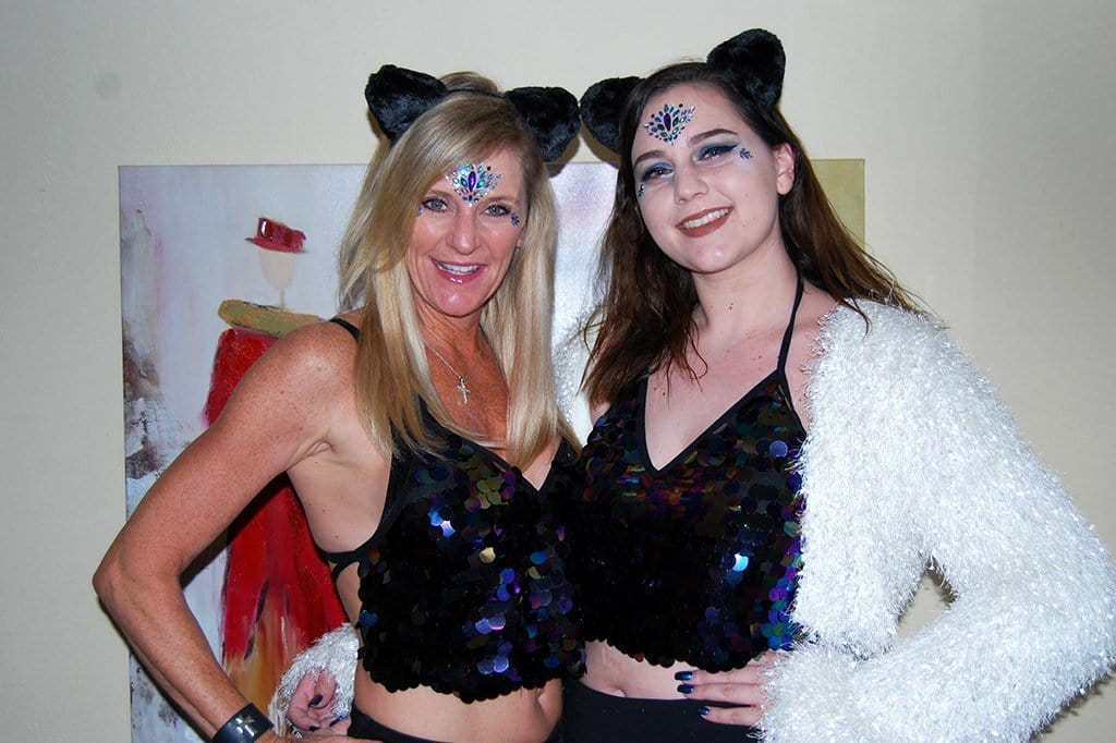 Mom & Daughter Matching Rave Outfits with Black Fuzzy Cat Ears & Sequin Halter Top
