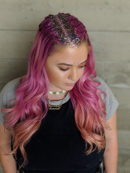 Glitter Roots on Purple Hair Glam Shot