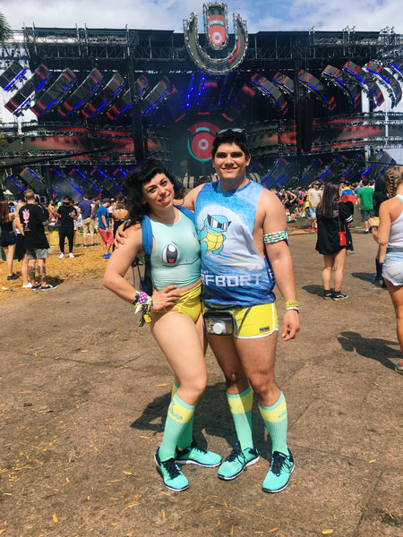 Ultra Music Festival @aliciahernandance matching squirtle pokemon themed rave outfit