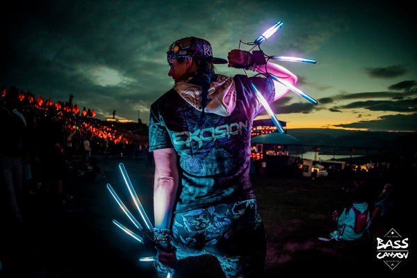 Raver with light up LED lights during Bass Canyon 2018