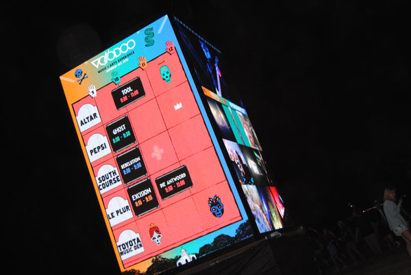 electronic display of the my voodoo adventure festival schedule