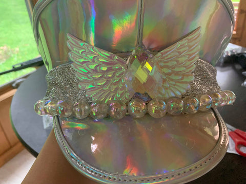 Holographic Captains Hat with Tear Drop Crystal