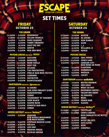 Escape 2019 Set times