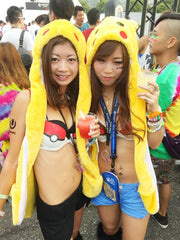 rave girls in matching Pokemon cosplay outfits