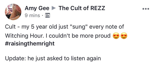 Amy Gee Commenting on the Cult of Rezz Facebook Page