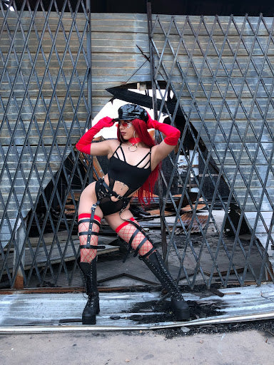 Black and Red Bondage Look