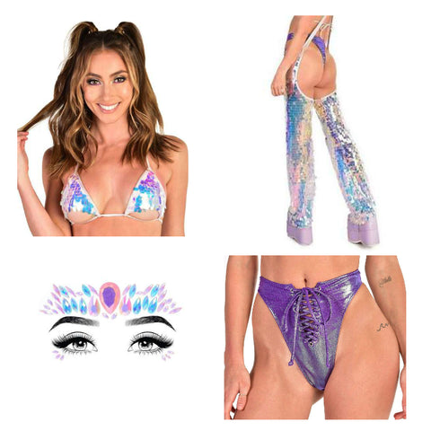 Blue and Purple Sequin Rave Outfit