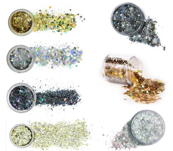 Gold, silver, and black beauty glitter for raves